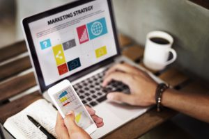 Marketing Strategy Connting Digital Devices Concept